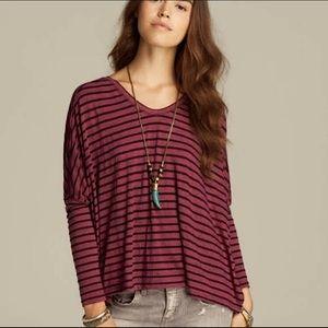 We The Free Striped Purple & Black Dolman Top.